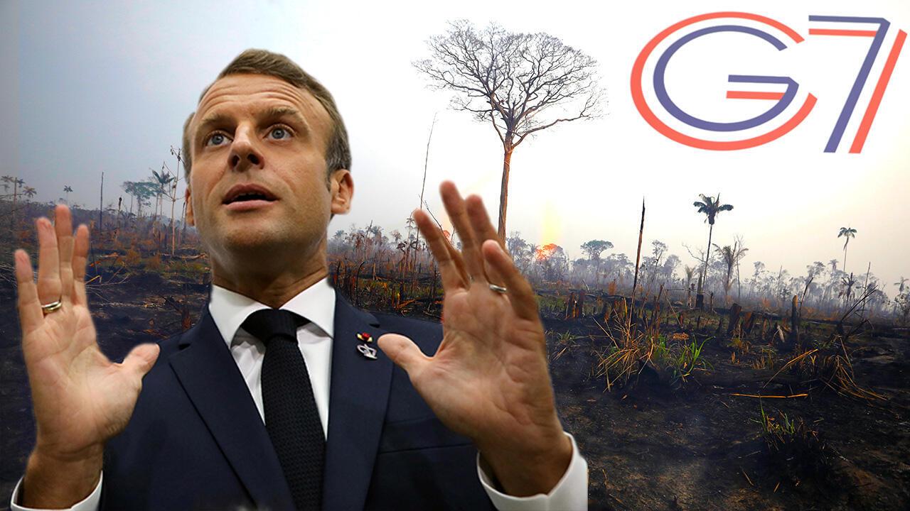 El presidente francés Emmanuel Macron anuncia que los líderes del G7 acordaron ayudar a los países afectados por los incendios de la Amazonía, en Biarritz, Francia, el 25 de agosto de 2019. Fotografía /REUTERS