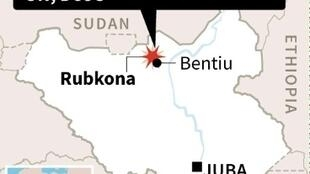 Map locating Rubkona county in South Sudan, where women and girls sought help after sexual violence by armed men, said UN
