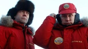 Russian President Vladimir Putin, right, and Prime Minister Dmitry Medvedev visit the Arctic last year, where Moscow is increasingly seeking to assert its influence