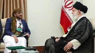 Rencontre entre Ali Khamenei et le porte-parole des rebelles houthis Mohammed Abdul-Salam, le 13 août 2019.