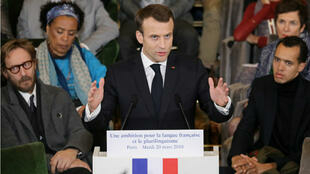 Emmanuel Macron a exposé sa stratégie pour promouvoir la langue française à l'Académie française, le mardi 20 mars.