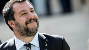Le ministre de l'Intérieur italien Matteo Salvini lors d'une conférence de presse à Paris le 4 avril 2019
