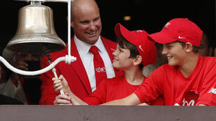 Former England captain Andrew Strauss and his sons dressed in red to show support for the Ruth Strauss Foundation at Lord's in 2019