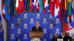 El vicepresidente de Estados Unidos, Mike Pence, pronuncia su discurso frente al Consejo Permanente de la OEA. 7 de mayo de 2018.