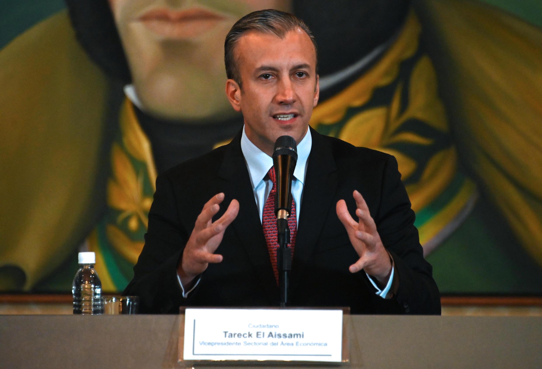 Tareck El Aissami habla en conferencia de prensa, el 10 de mayo de 2019 en Caracas