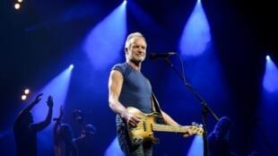 Le chanteur britannique Sting en concert, le 28 juin 2019 à Montreux, en Suisse