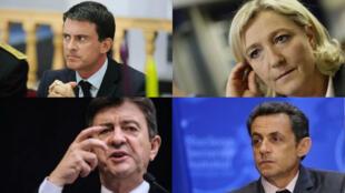 Manuel Valls, Marine Le Pen, Jean-Luc Mélenchon, Nicolas Sarkozy