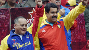 President of the National Assembly Diosdado Cabello (L) pictured with President Nicolas Maduro (R) in March 2015.