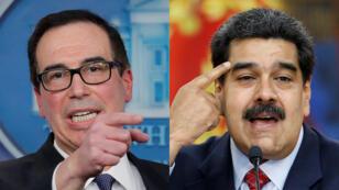 A la izquierda, el secretario del Tesoro de EE. UU., Steve Mnuchin. A la derecha el presidente de Venezuela Nicolás Maduro.