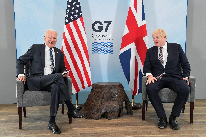 El presidente de Estados Unidos, Joe Biden, y el primer ministro de Reino Unido, Boris Johnson, en Carbis Bay, en el suroeste del país, donde se llevará a cabo la cumbre del G7.