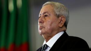 Abdelkader Bensalah, el presidente de la Cámara Alta de Argelia, tras ser designado como presidente interino por el Parlamento el nueve de abril de 2019.