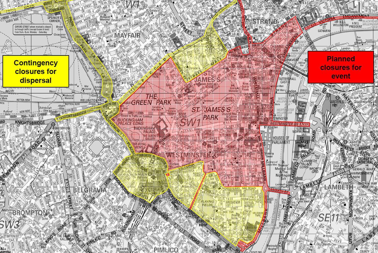 Central London in lockdown for wedding