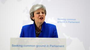 La Première ministre britannique Theresa May lors d'un discours sur le Brexit à Londres, le 21 mai 2019.