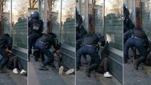 Combinaison d'images tirée d'une vidéo diffusée par un manifestant, le 18 janvier 2020, montrant un policier frapper un manifestant au sol en marge d'une manifestation Gilets Jaunes, à Paris.