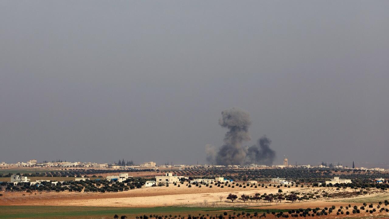 غارة جوية في إدلب شمال غرب سوريا.