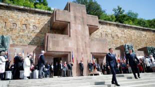 Presidente Frances Emmanuel Macron en una ceremonía celebrando la resistencia de Charles de Gaulle, al memorial de Mont Valerien en Suresnes