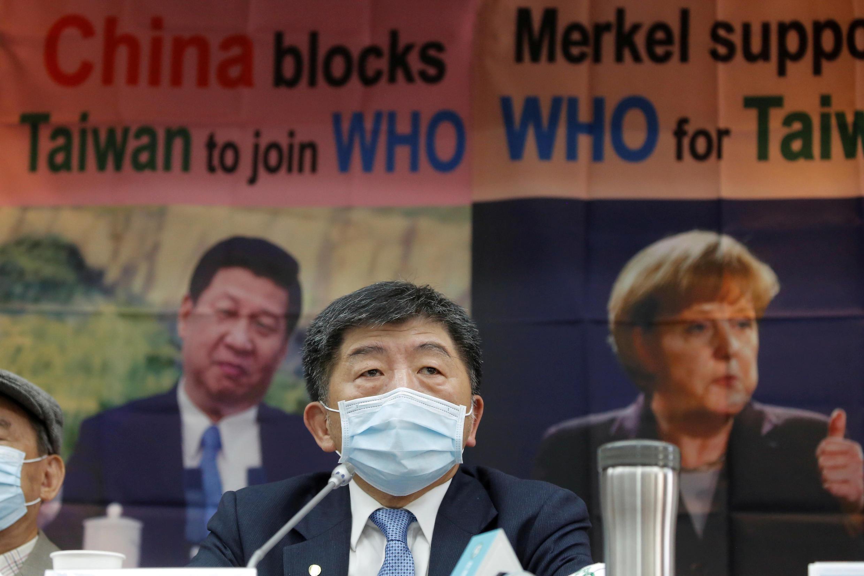 Le ministre taïwanais de la Santé Chen Shih-chung, lors d'une conférence de presse au sujet des efforts du pays pour rejoindre l'Organisation mondiale de la Santé, à Taïpei, le 15 mai 2020.