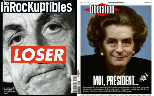 Sarkozy picked up less than half as many votes as his former prime minister Fillon, pictured here by Libération newspaper as a French Margaret Thatcher.