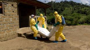 La Croix-Rouge guinéenne évacue le corps d'un malade d'Ebola à Macenta en Guinée Conakry le 21 novembre.