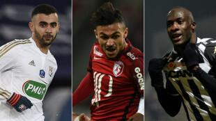 L'Algérien Rachid Ghezzal (OL), le Marocain Sofiane Boufal (Lille OSC) et le Sénégalais Cheikh N'Doye (SCO Angers).