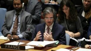 السفير الفرنسي لدى الأمم المتحدة فرنسوا ديلاتر، في 14 نيسان/أبريل 2018