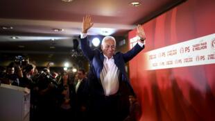 Le candidat du Parti socialiste et Premier ministre sortant du Portugal, Antonio Costa, s'adresse aux électeurs après les législatives, le 6octobreà Lisbonne.