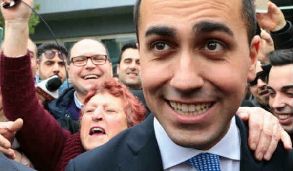 Luigi Di Maio, 31, celebrates with supporters after his Five-Star Movement became Italy's biggest party in the March 4 election.