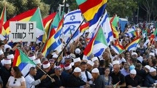 """الدروز وأنصارهم يتظاهرون في تل أبيب ضد قانون """"الدولة القومية"""". 4 آب/اغسطس 2018."""
