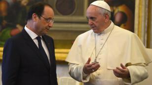 Audience du 24 janvier entre François Hollande et le pape François, au Vatican.