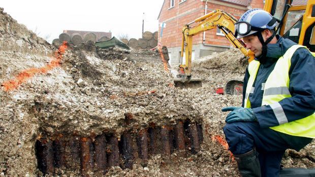 Des obus allemands retrouvés en 2010 à Coucy-lès-Eppes en Picardie