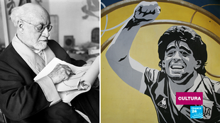 El pintor y escultor francés Henri Matisse fotografiado en su atelier de Niza en 1952; mientras que un graffiti en Buenos Aires retrata a la leyenda argentina del fútbol, Diego Armando Maradona.