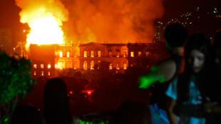 Un incendie a ravagé le Musée National de Rio de Janeiro au Brésil, le 2 septembre 2018.