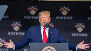 Le président Donald Trump pendant une cérémonie, le 13 juin 2020 à West Point, à New York.