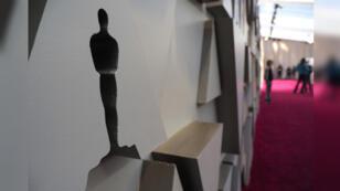 Una silueta de los Óscar en la alfombra roja durante los preparativos para la 91 edición de los Premios de la Academia en Hollywood, California, EE. UU., el 23 de febrero de 2019.