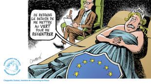 """L'Europe doit-il se vêtir de vert pour """"se recentrer"""" ? le dessin de la semaine de Cartooning for Peace."""
