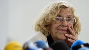 Manuela Carmena lors d'une conférence de presse le 12 juin à Madrid. La future maire de la ville a promis de lutter contre la corruption.
