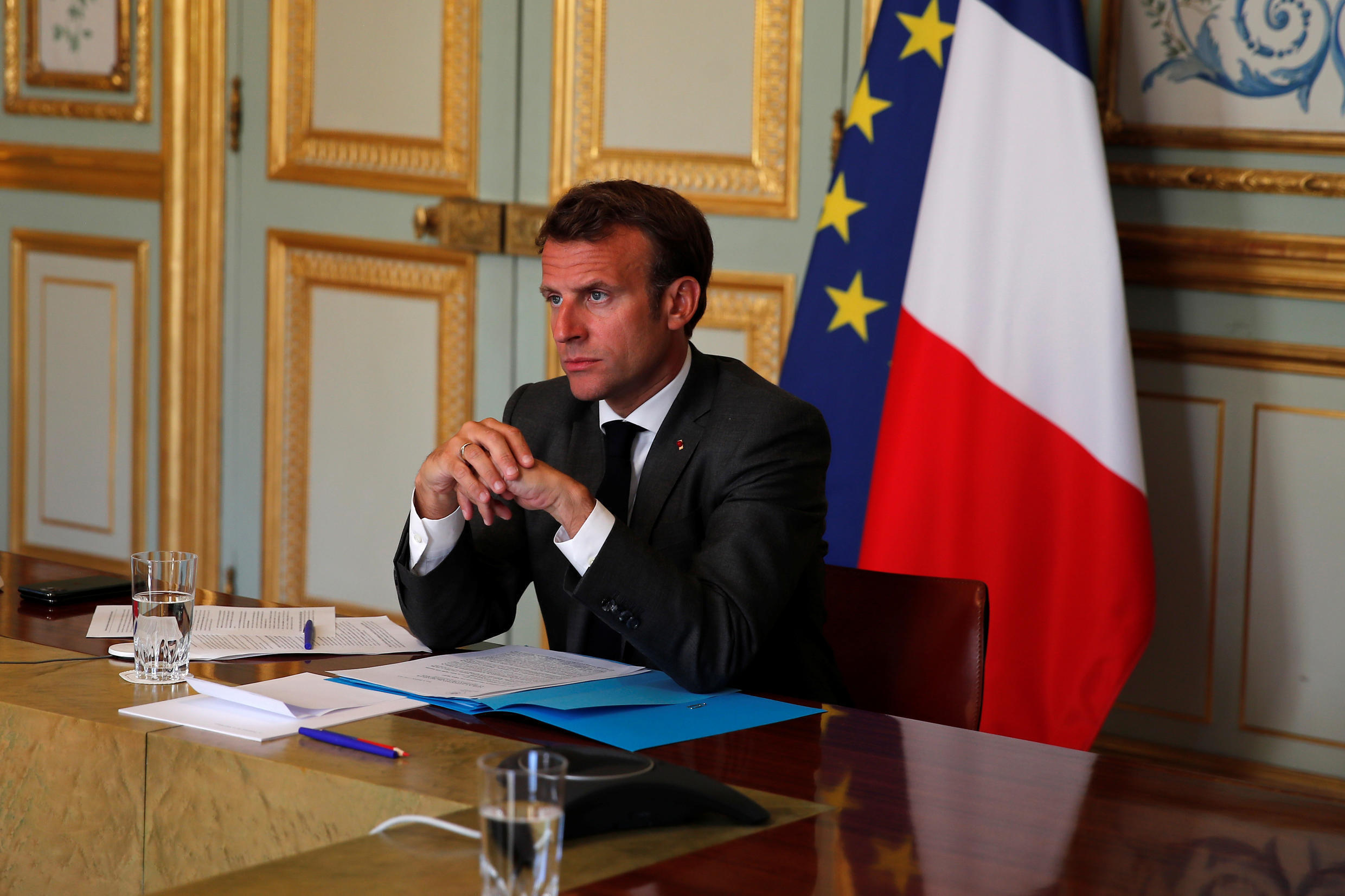 """French President Emmanuel Macron will travel to the US in June """"if sanitary conditions allow"""", his office said Wednesday."""