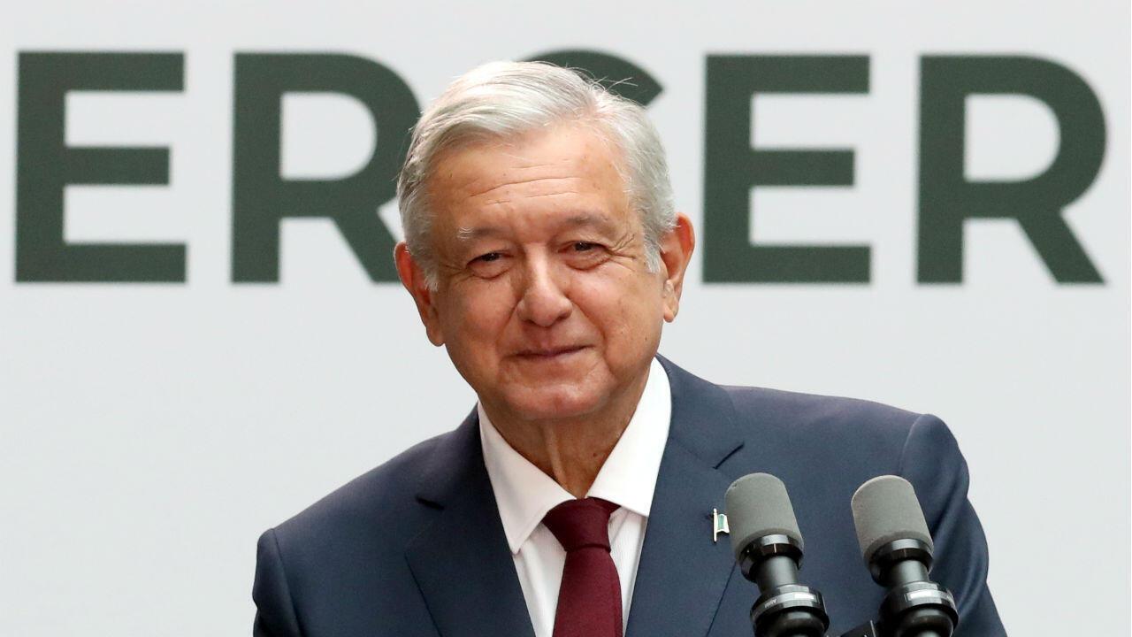 El presidente de México, Andrés Manuel López Obrador, entrega su primer estado de la unión en el Palacio Nacional de la Ciudad de México, México, el 1 de septiembre de 2019.