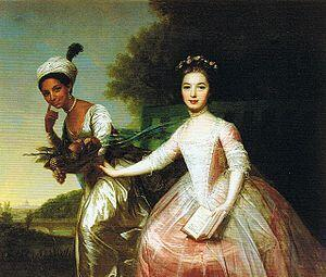 Portrait of Dido Elizabeth Belle and her cousin, Elizabeth Murray, attributed to German neo-classical painter Johann Zoffany. The painting was radical in showing the pair at the same eye-level.