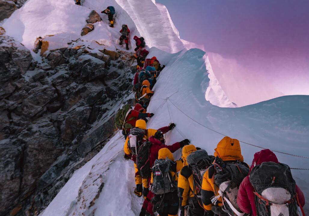 Les embouteillages sur l'Everest en mai 2019.