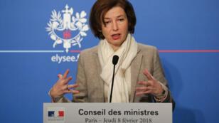 La ministre française de la Défense, Florence Parly, le 8 février 2018, à la sortie du conseil des ministres, à Paris.