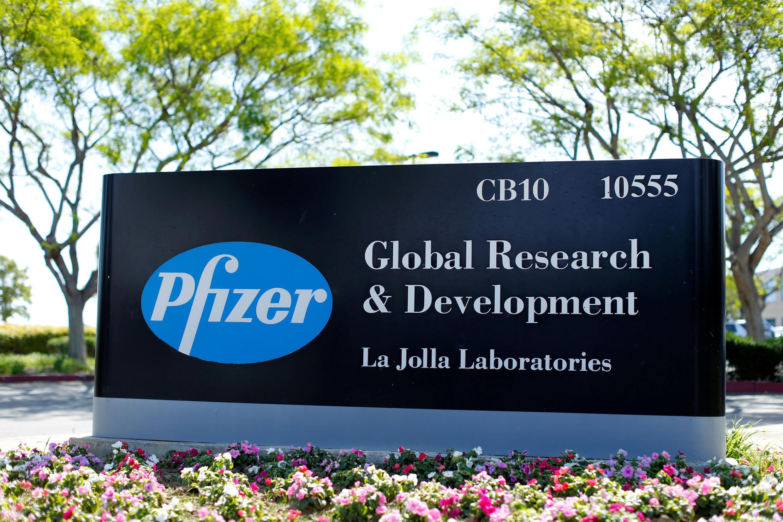 The logo of  US drugmaker Pfizer in La Jolla, California, on April 21, 2016.