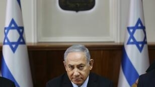 "Israeli Prime Minister Benjamin Netanyahu, pictured October 2018, says he congratulates his ""friend Brazilian president-elect Jair Bolsonaro for his intention to move the Brazilian embassy to Jerusalem"""