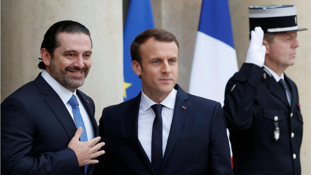 El presidente francés, Emmanuel Macron, junto al primer ministro libanés, Saad al-Hariri, en el Palacio del Elíseo en París.