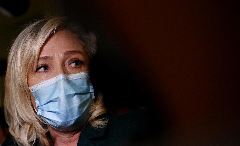 Marine Le Pen face à la presse, le 10 février 2021, à Nanterre