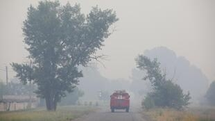 The fires erupted in eastern Ukraine on Monday