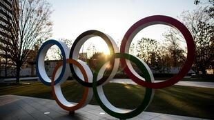 The Olympic rings in front of the Japan National Stadium, the main venue for the postponed Tokyo 2020 Olympic Games