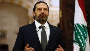 Le Premier ministre libanais Saad Hariri lors d'une conférence de presse à Beyrouth, le 18octobre2019.