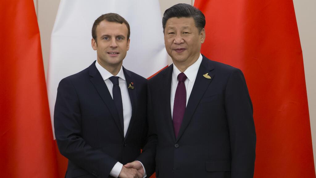 Emmanuel Macron et Xi Jinping, le 8 juillet 2017, lors de la réunion du G20 à Hambourg.