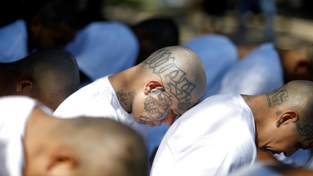 Los integrantes de la pandilla Mara Salvatrucha (MS-13) esperan ser escoltados al llegar a la cárcel de máxima seguridad en Zacatecoluca, El Salvador, el 31 de enero de 2019.